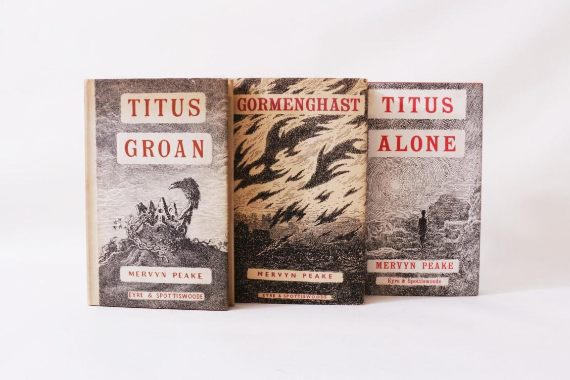 Mervyn Peake - The Gormenghast Trilogy [comprising] Titus Groan, Gormenghast and Titus Alone - Eyre & Spottiswoode, 1946-1959, First Edition.