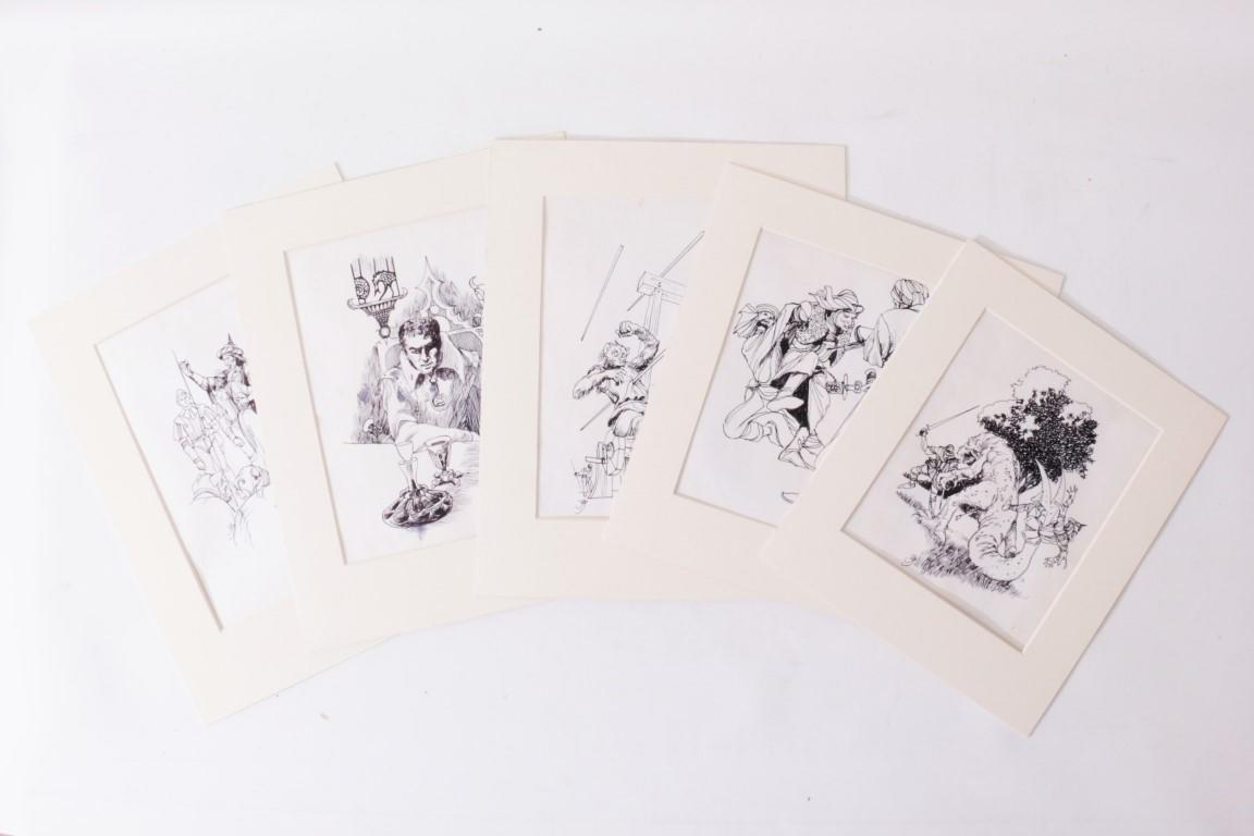Jack Gaughan - Five Pieces of Original Art for Alan Burt Akers's Renegade of Kregen - DAW, c. 1976, . Signed