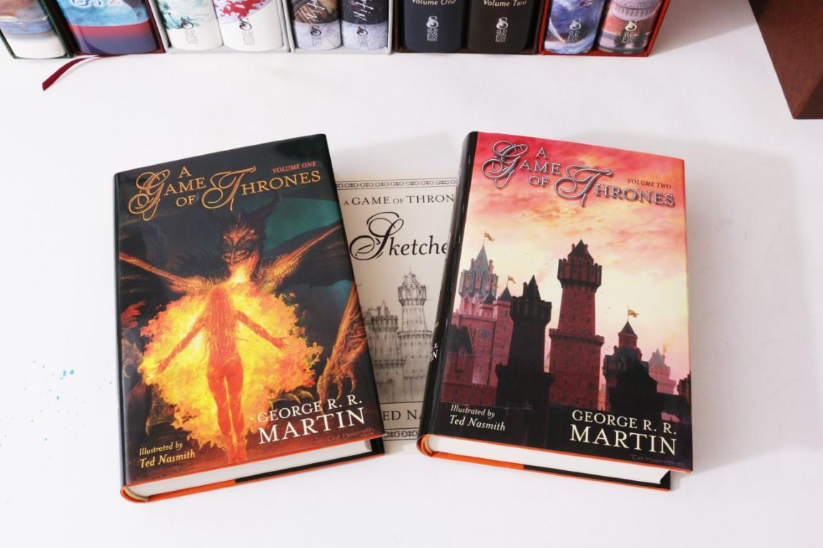 George R.R. Martin - A Song of Ice and Fire [comprising] A Game of Thrones, A Clash of Kings, A Storm of Swords, Feast for Crows and A Dance with Dragons, w/ A Knight of the Seven Kingdoms - Lettered Set - Meisha Merlin / Subterranean Press, 2000-2016, Limited Edition.  Signed
