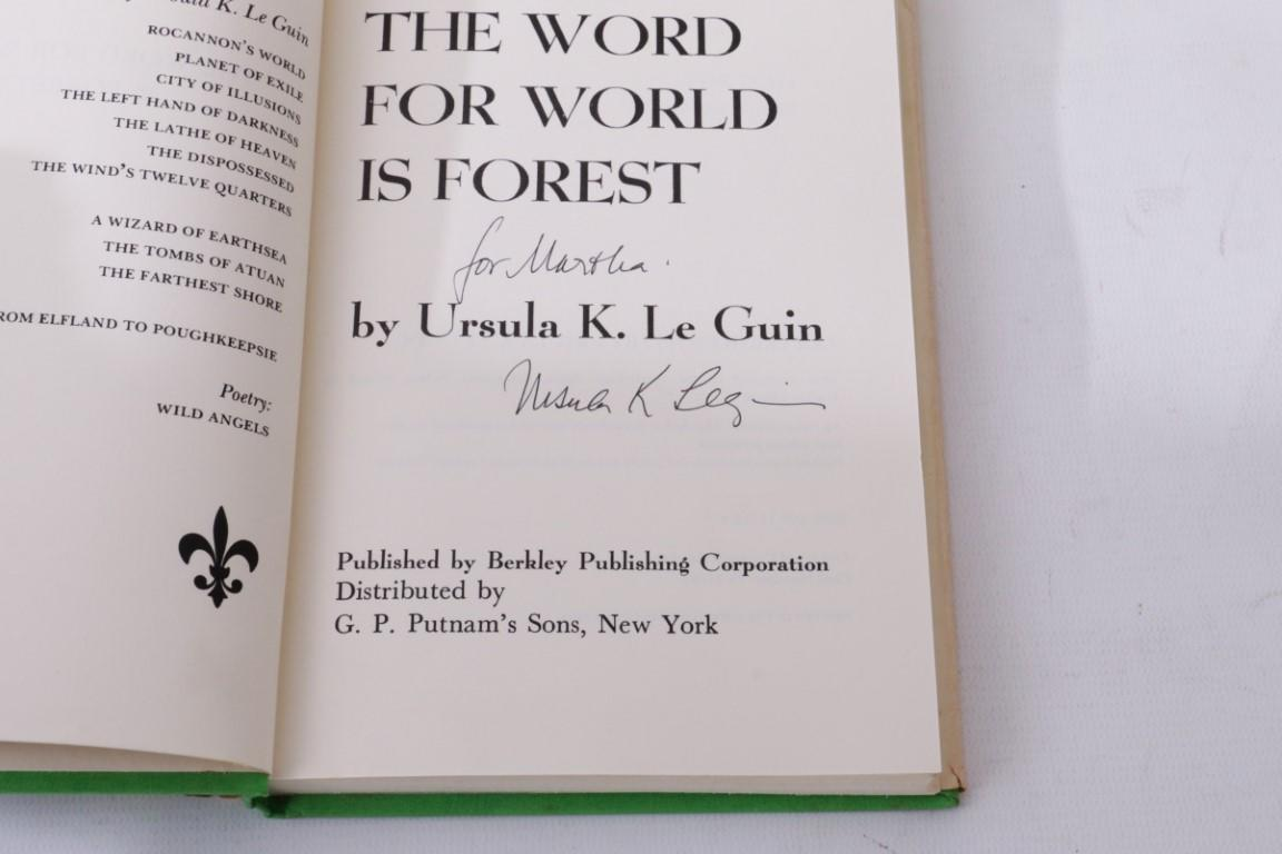 Ursula K. Le Guin - The Word for World is Forest - Berkley / Putnam, 1976, Signed First Edition.