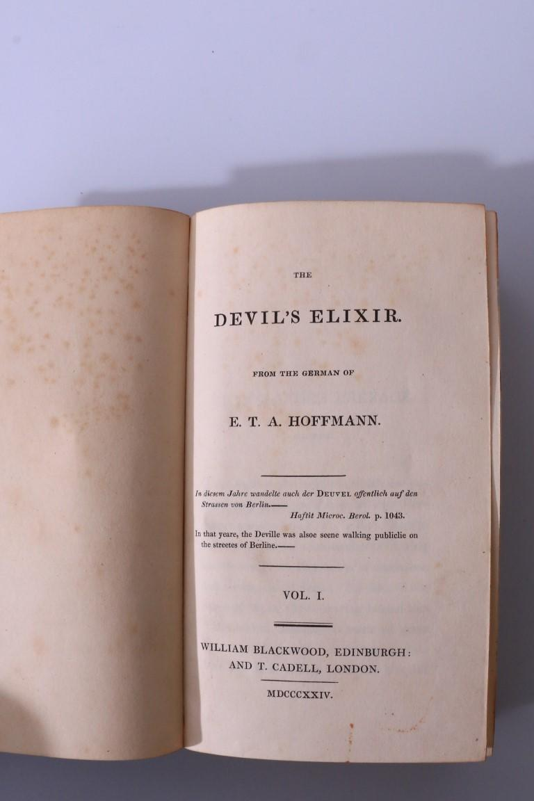 E.T.A. Hoffmann - The Devil's Elixir - William Blackwood & T. Cadell, 1824, First Edition.