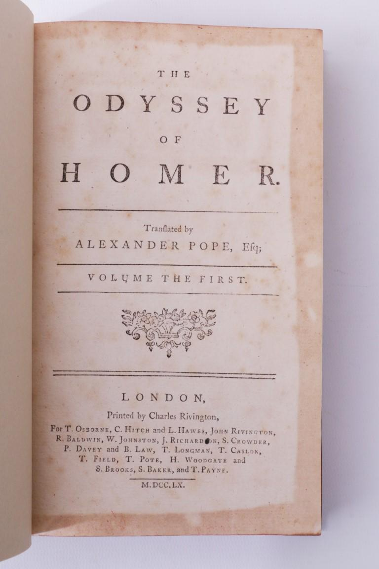 Homer [trans. Alexander Pope] - The Odyssey - T. Osborne, C. Hitch et al., 1760, First Thus.