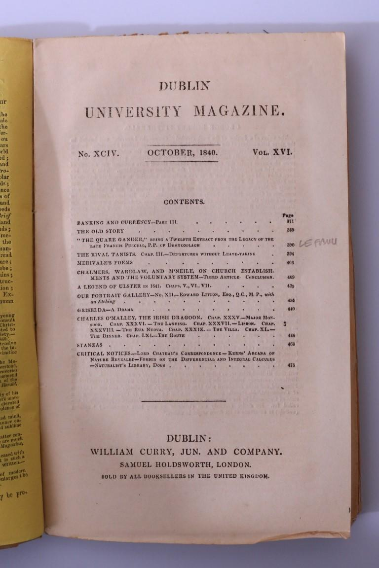 J. Sheridan Le Fanu & Others - The Quare Gander in Dublin University Magazine No. XCIV - William Curry, 1840, First Edition.