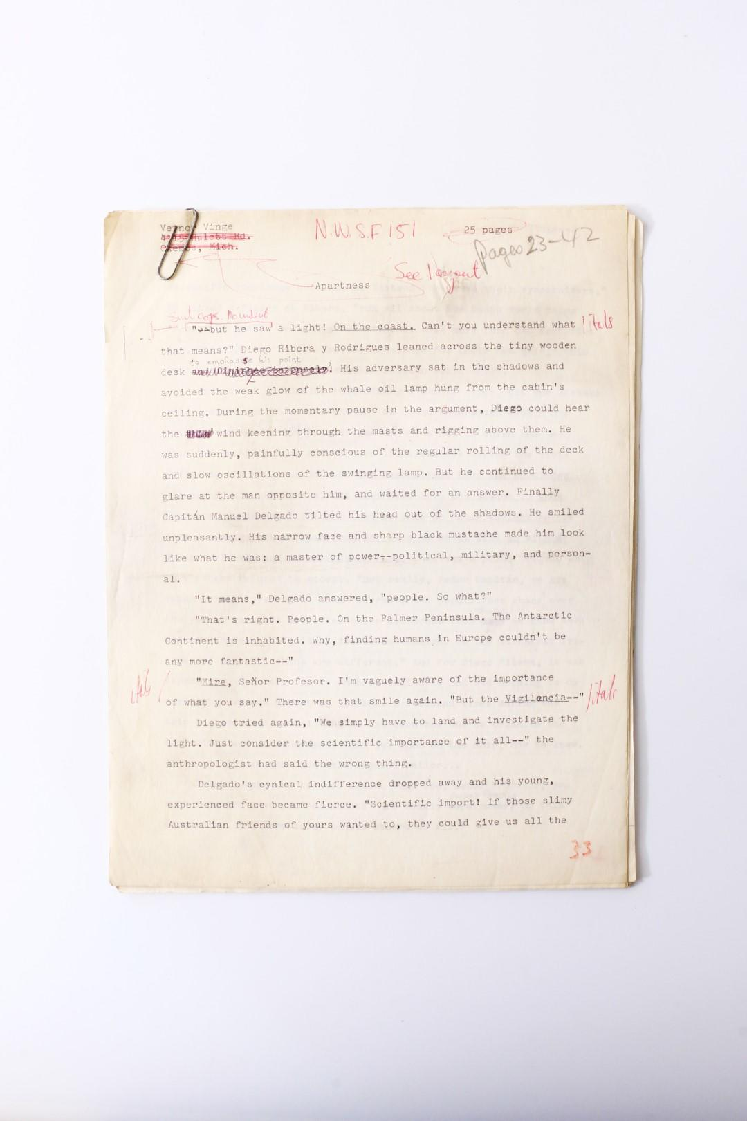 Vernor Vinge - apartness Typescript - None, nd [~1965], Manuscript.