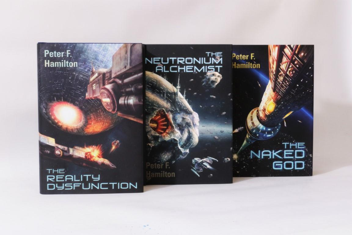 Peter F. Hamilton - Night's Dawn Trilogy [comprising] The Reality Dysfunction, The Neutronium Alchemist and The Naked God - The Illustrator's Copy - Subterranean Press, 2009-2012, Signed Limited Edition.