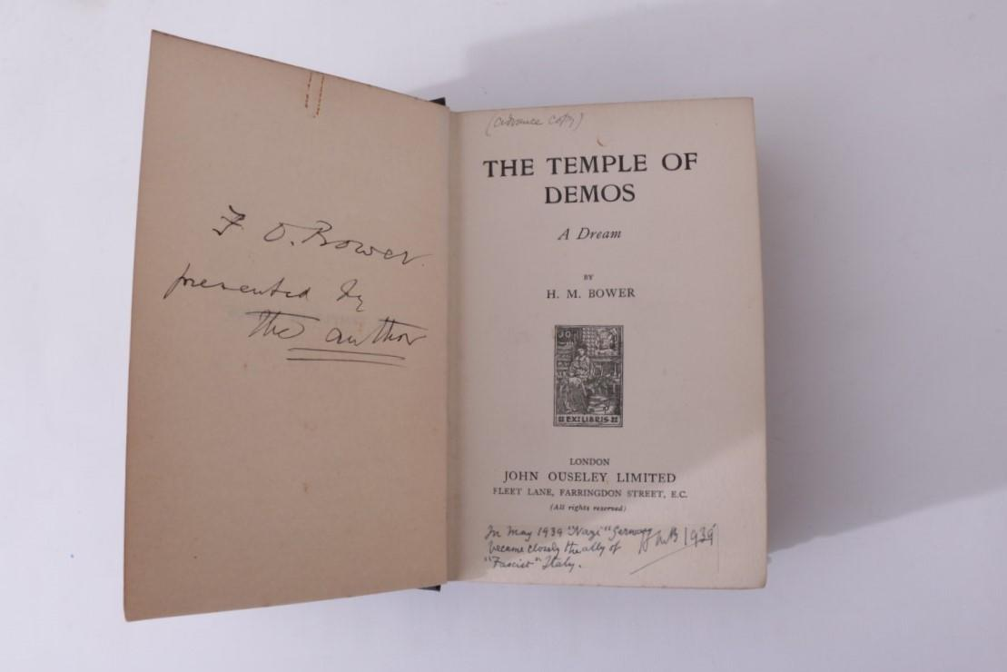 H.M. Bower - The Temple of Demos - John Ouseley, n.d. [1912 BL], First Edition.