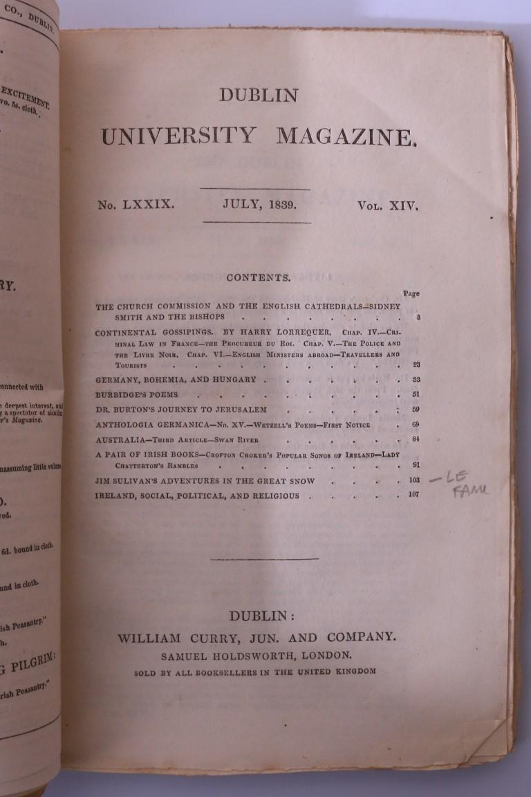 J. Sheridan Le Fanu & Others - Jim Sulivan's Adventures in the Great Snow in Dublin University Magazine No. LXXIX - William Curry, 1839, First Edition.