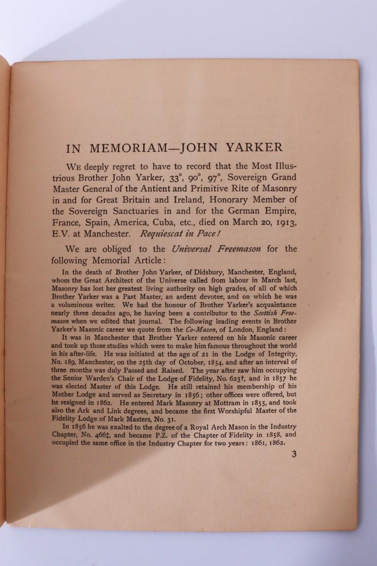Aleister Crowley Interest - In Memoriam: John Yarker - None, n.d. [c1913], First Edition.