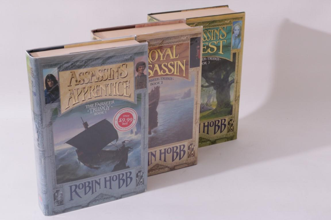 Robin Hobb - The Farseer Trilogy [comprising] Assassin's Apprentice, Royal Assassin and Assassin's Quest - Harper Collins / Voyager, 1995-1997, First Edition.  Signed