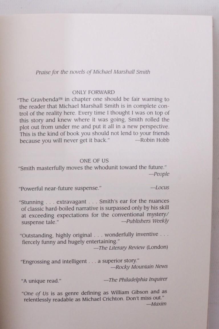 Michael Marshall Smith - Only Forward - Subterranean Press, 2002, Signed Limited Edition.