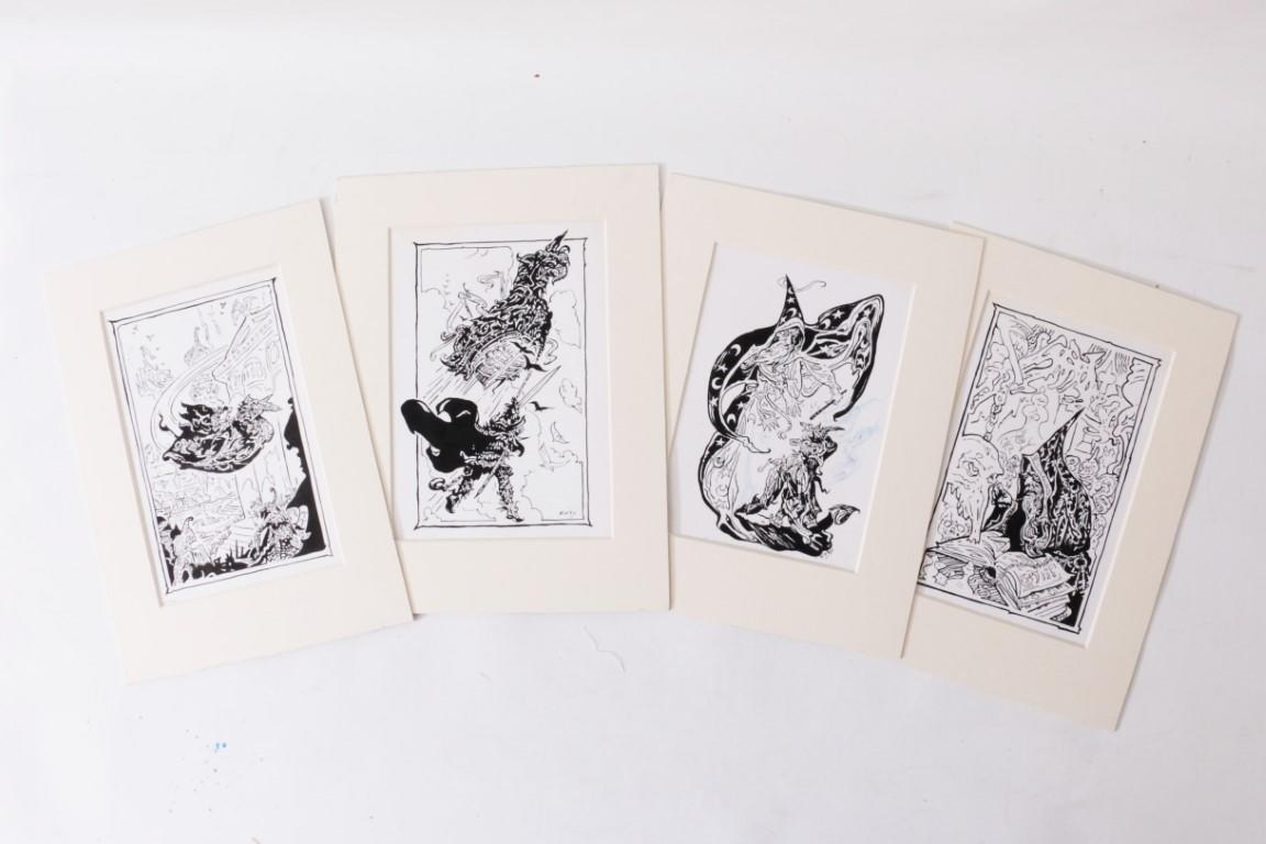 Josh Kirby - Four Pieces of Original Art for Alan Burt Akers's Golden Scorpio - DAW, c. 1978, . Signed
