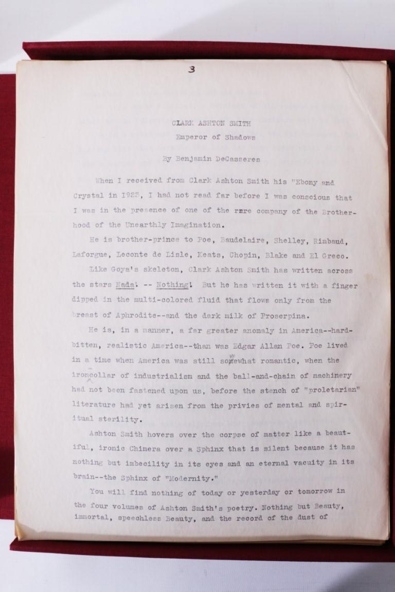 Clark Ashton Smith - Selected Poems - The Original Manuscript - Arkham House, c.1945-1949, Manuscript. Signed