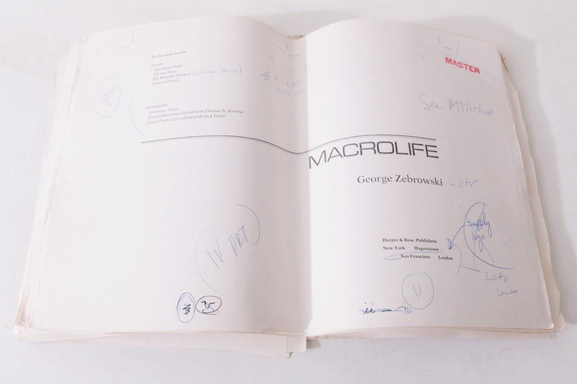 George Zebrowski - Macrolife - Harper & Row, 1979, Manuscript. Signed