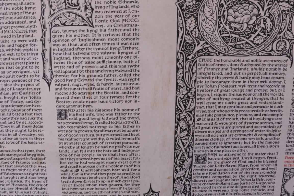William Morris - Two Trial Pages for the Projected Edition of Lord Berners's Translation of Froissart's Chronicles - Kelmscott Press, 1897, Limited Edition.