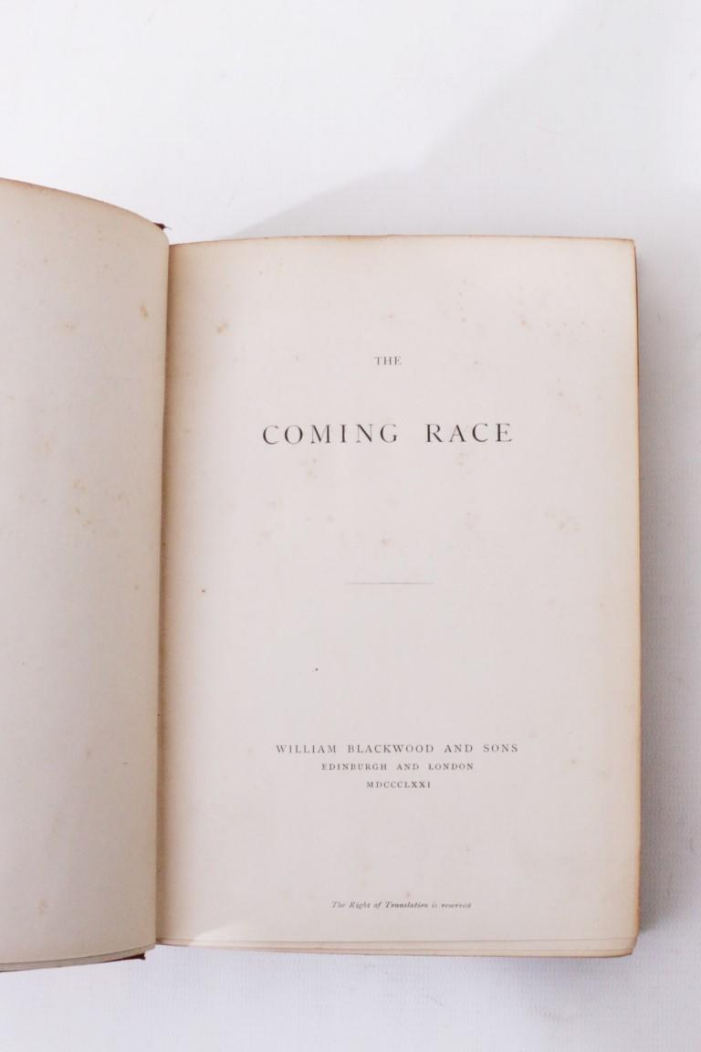 Anonymous [Edward Bulwer-Lytton] - The Coming Race - William Blackwood & Sons, 1871, First Edition.