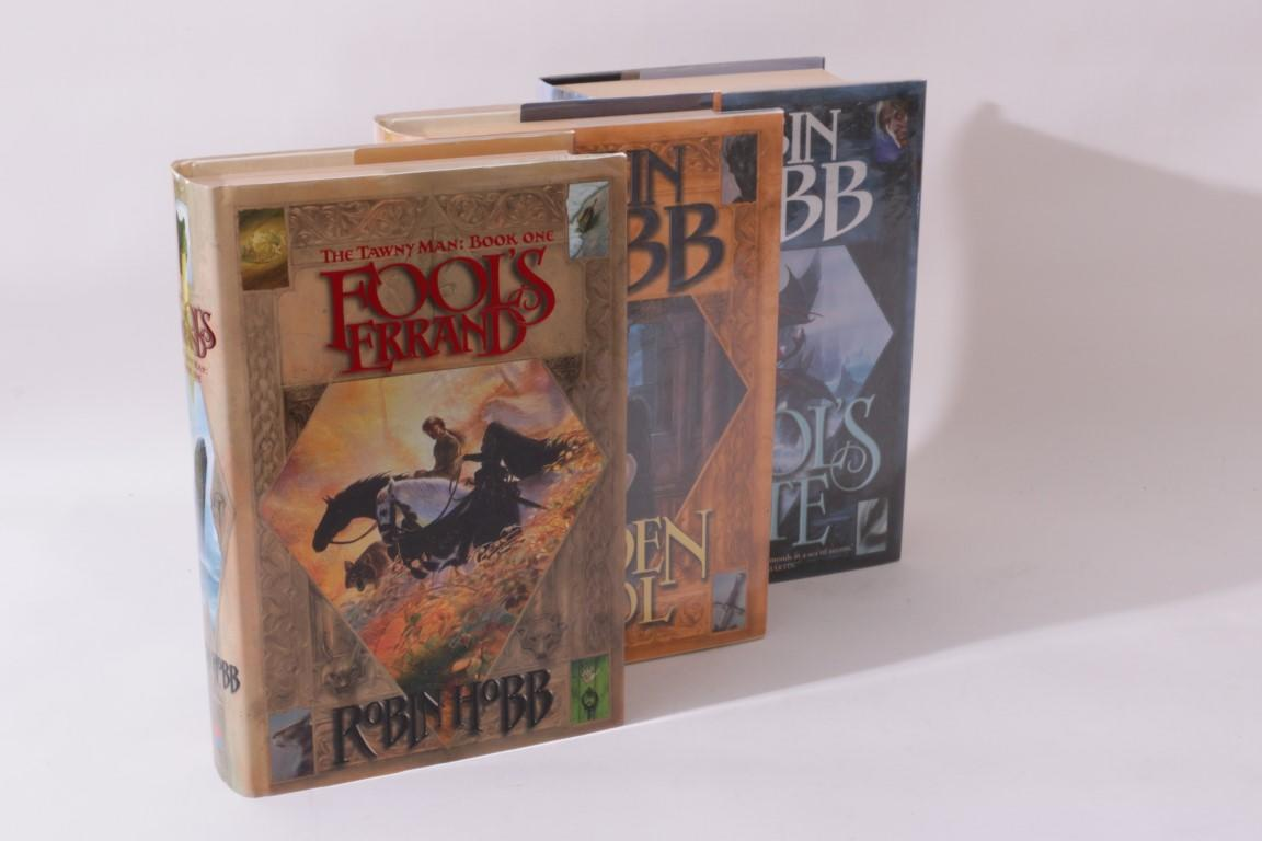 Robin Hobb - The Tawny Man [comprising] Fool's Errand, The Golden Fool and Fool's Fate - Voyager, 2001-2003, First Edition.  Signed