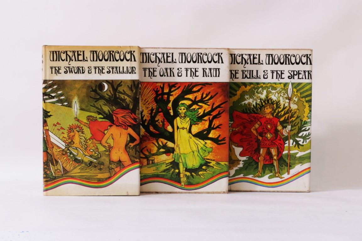 Michael Moorcock - The Chronicles of Corum [comprising] The Bull & The Spear, The Oak & The Ram and The Sword & The Stallion - Allison & Busby, 1973-1974, Signed First Edition.