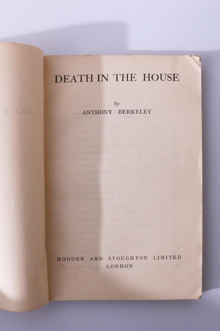 Anthony Berkeley - Death in the House - Hodder & Stoughton, 1939, Proof.