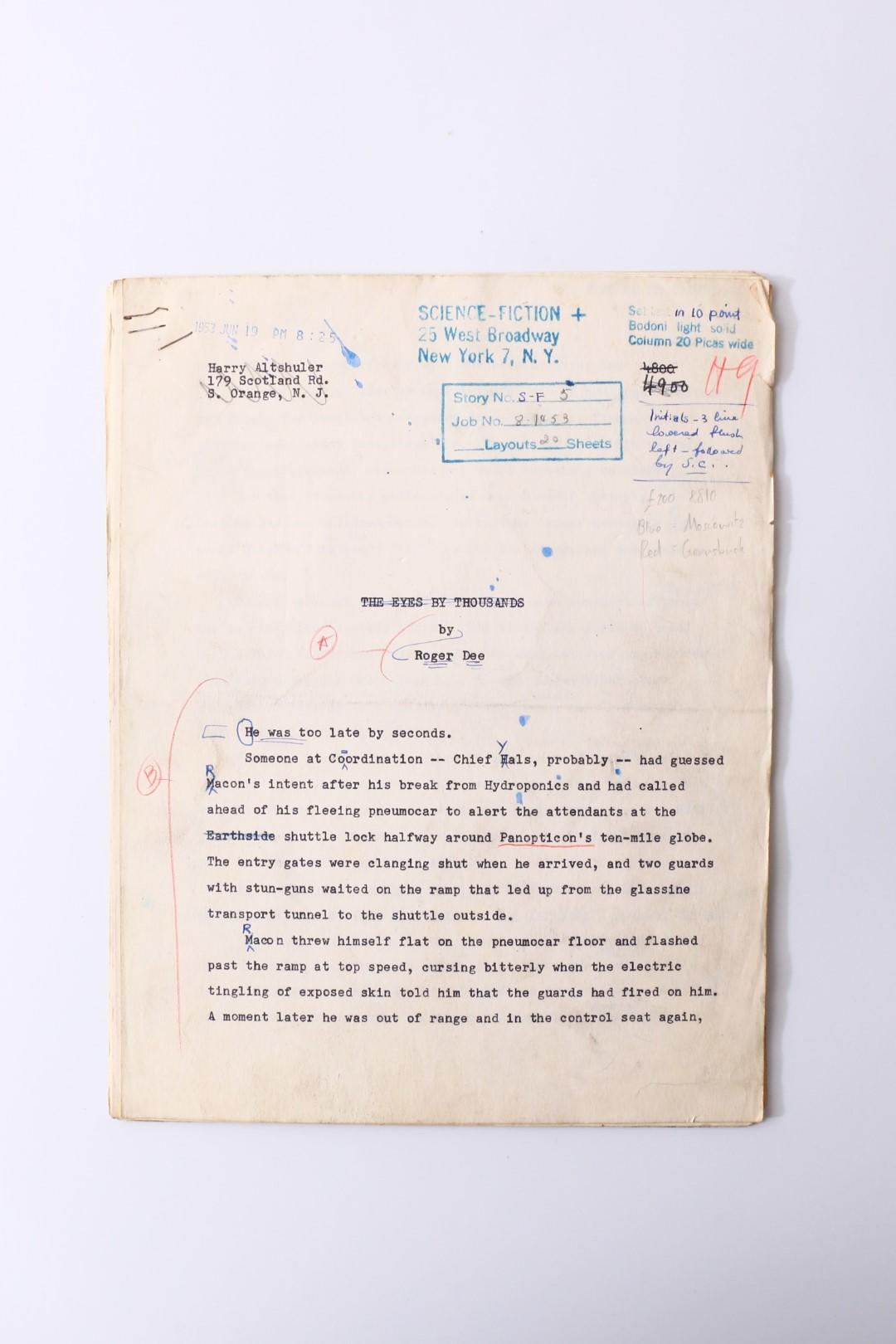 Roger Dee - The Eyes by Thousands [Worlds Within Worlds] Original Manuscript - Science-Fiction Plus, n.d. [1953], Manuscript.