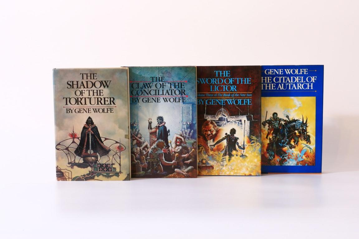 Gene Wolfe - The Book of the New Sun [comprising] The Shadow of the Torturer, The Claw of the Conciliator, The Sword of the Lictor, and The Citadel of the Autarch - Timescape Books / Simon & Schuster, 1980-1983, First Edition.