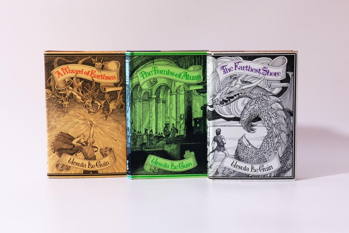Ursula Le Guin - The Earthsea Trilogy [comprising] A Wizard of Earthsea, The Tombs of Atuan and The Farthest Shore - Gollancz, 1971-1973, First Edition.