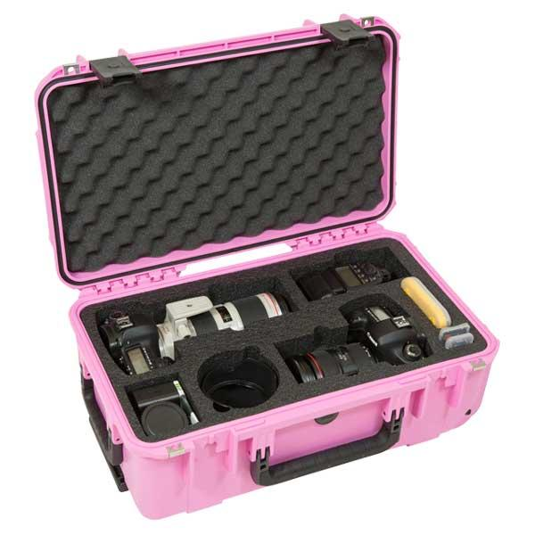SKB 3i-20117SLRP Waterproof Case for 2 DSLR Cameras with Lenses - Pink