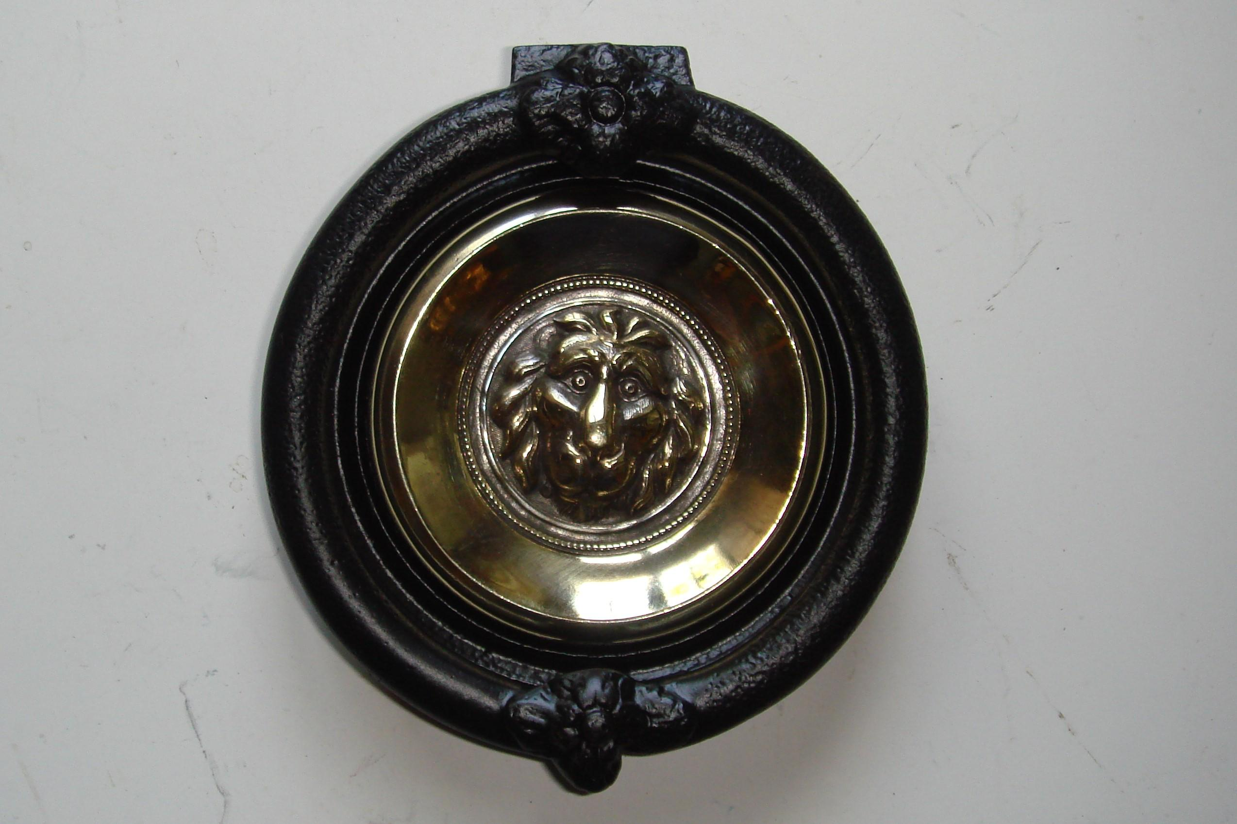 Genuine Victorian Cast Iron & Brass Lions Head Door Knocker