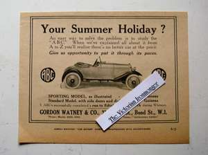 Original 1921 Advert Illustrating the ABC Sporting Model Car with Prices