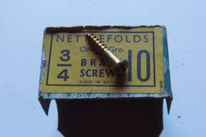 Vintage brass roundhead wood screws