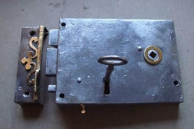 Victorian steel cased lockable rim latch of circa 1860.