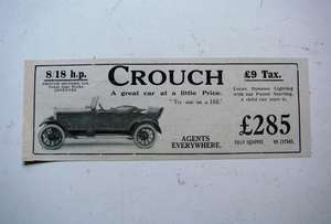 1922 Small Display Advertisement for Crouch (Coventry Built) 8/18 hp Cars.