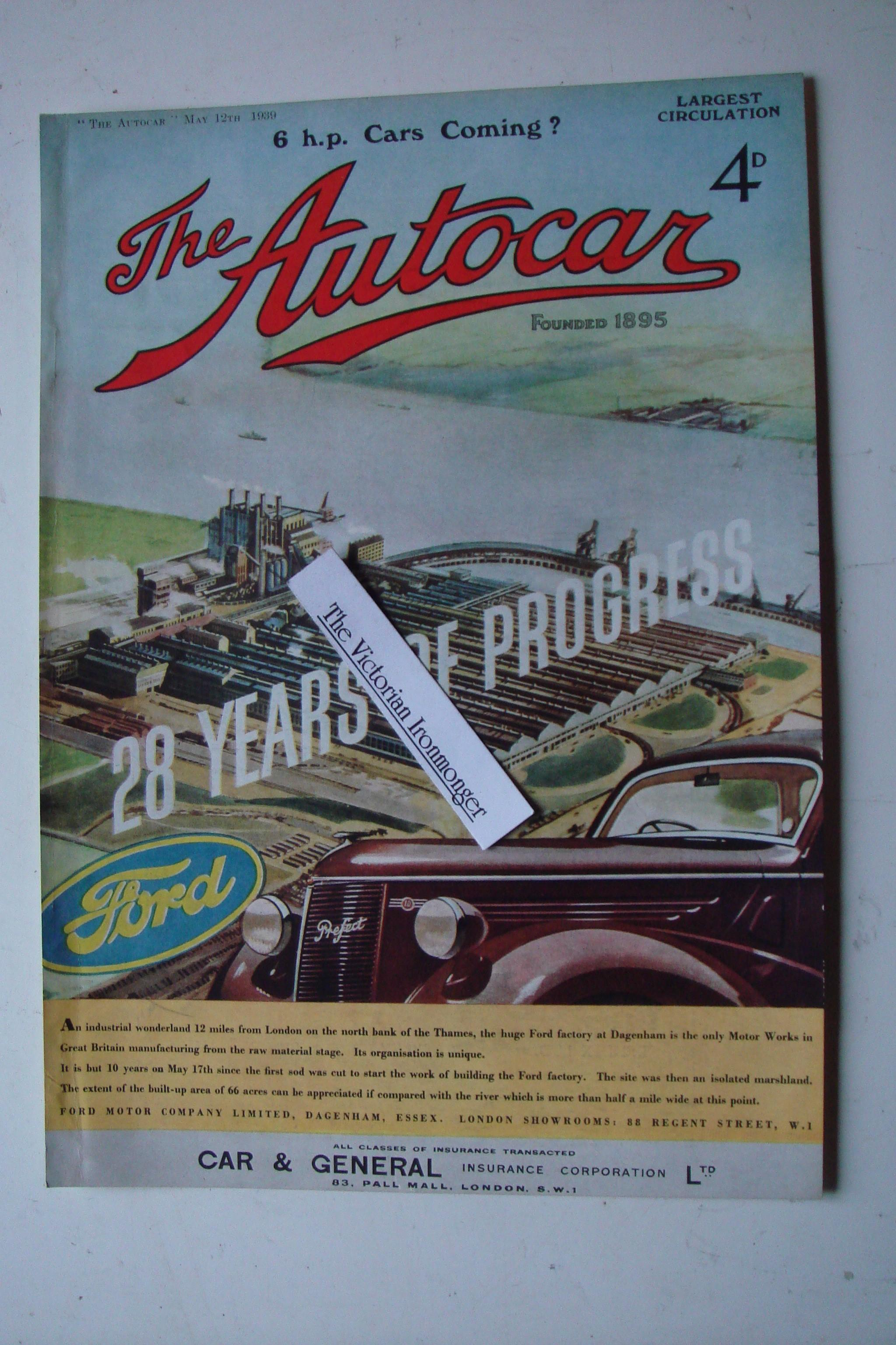 1939 Full Colour Advert for The Ford Ten Prefect Depicting Fords Dagenham Factory