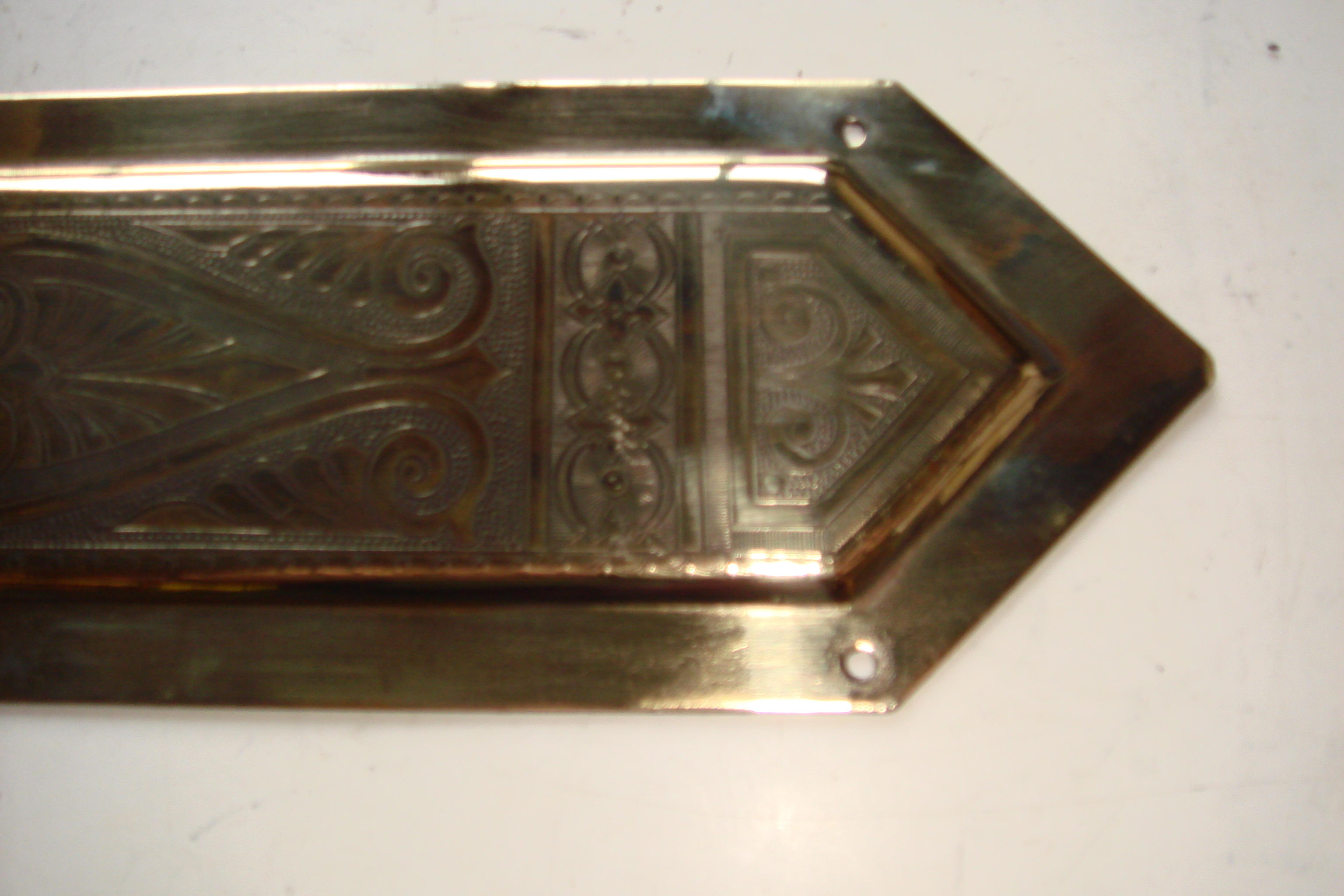 Reclaimed Victorian Door Finger Plate of Finely Engraved Brass