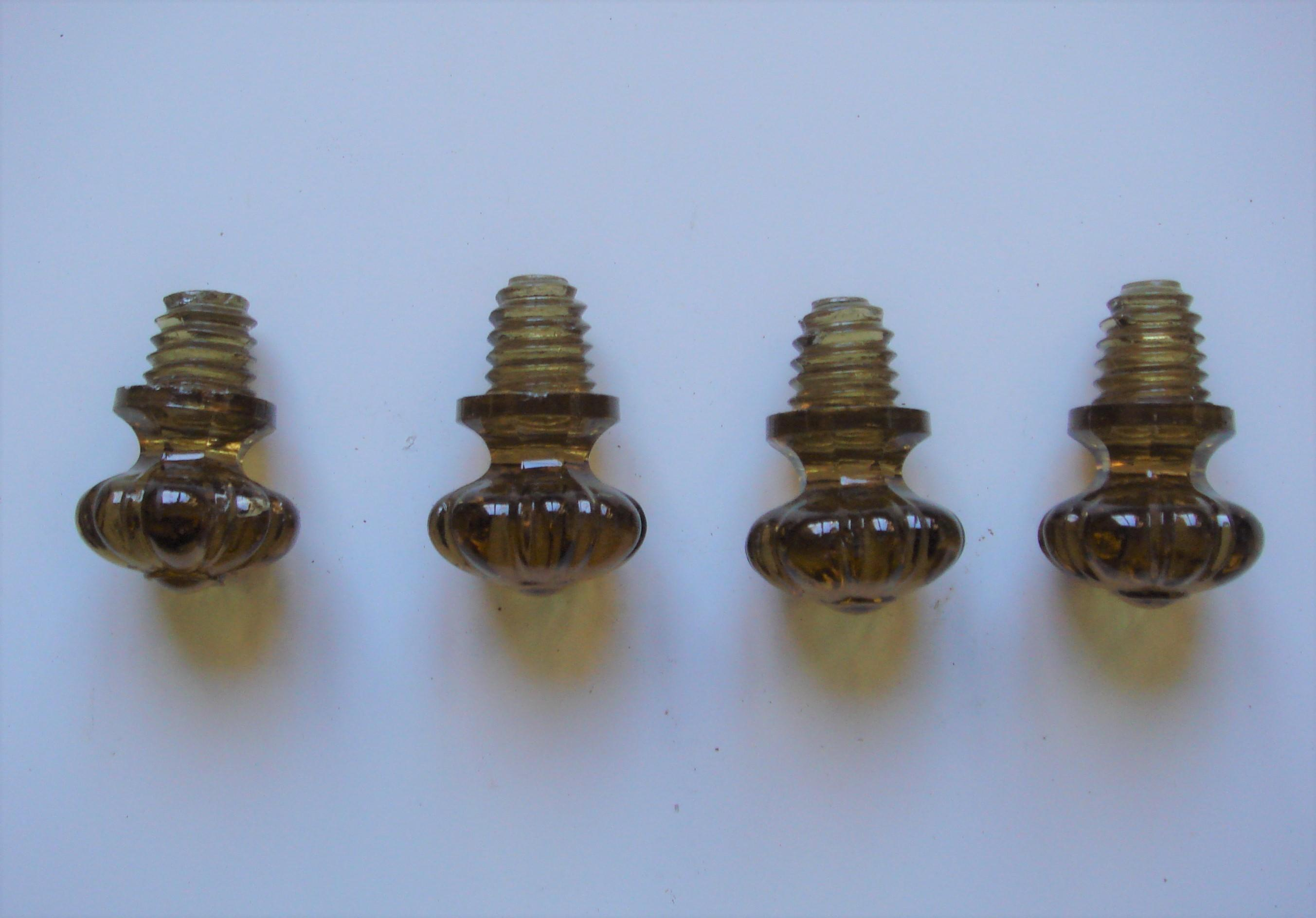 "Genuine Victorian Amber Glass 1.1/2"" Drawer Knobs"