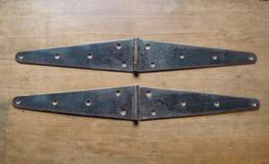 "Reclaimed Pair of Vintage Steel 12"" Strap Hinges"