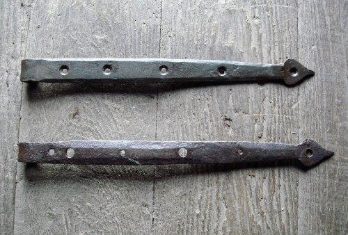 18th Century Iron Spear Point Strap Hinges