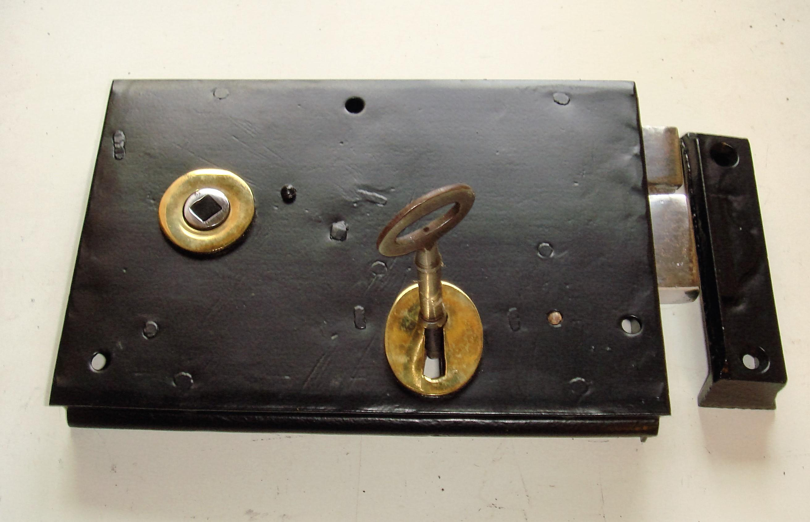 "Restored Victorian 8"" x 5.1/2"" Steel Cased Lockable Rim Latch (Right Hand)."