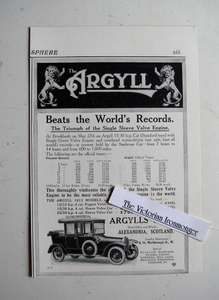 Edwardian Advert for Argyll 1913 Motor Car Range with Prices & Record Achievements