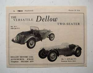 1954 Priced Advertisement for Dellow (Alvechurch) Two-Seater MK IIC & MK IV Sports Cars