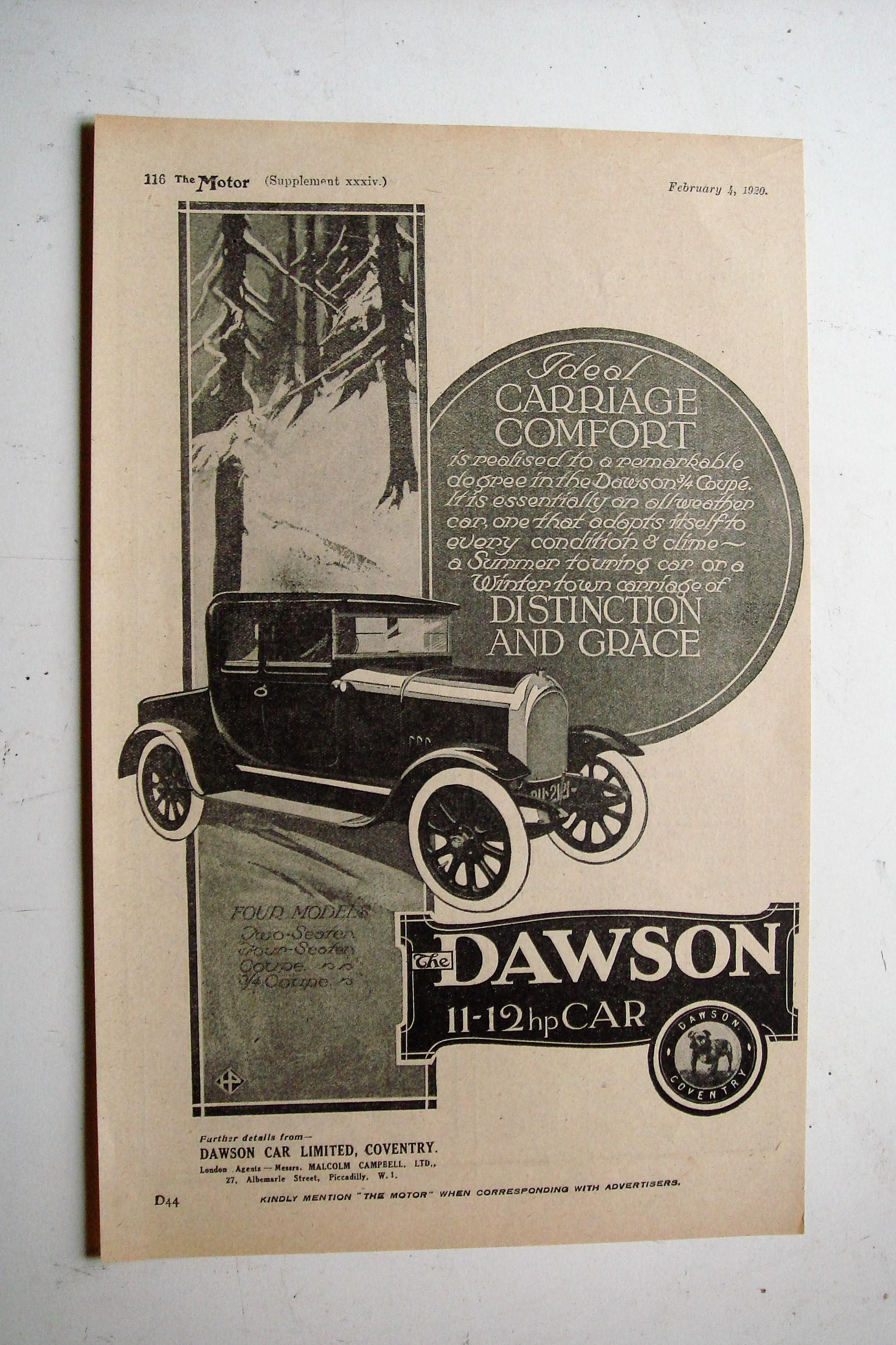 Original 1920 Advertisement for The Dawson (Coventry Built) 11-12 hp Car