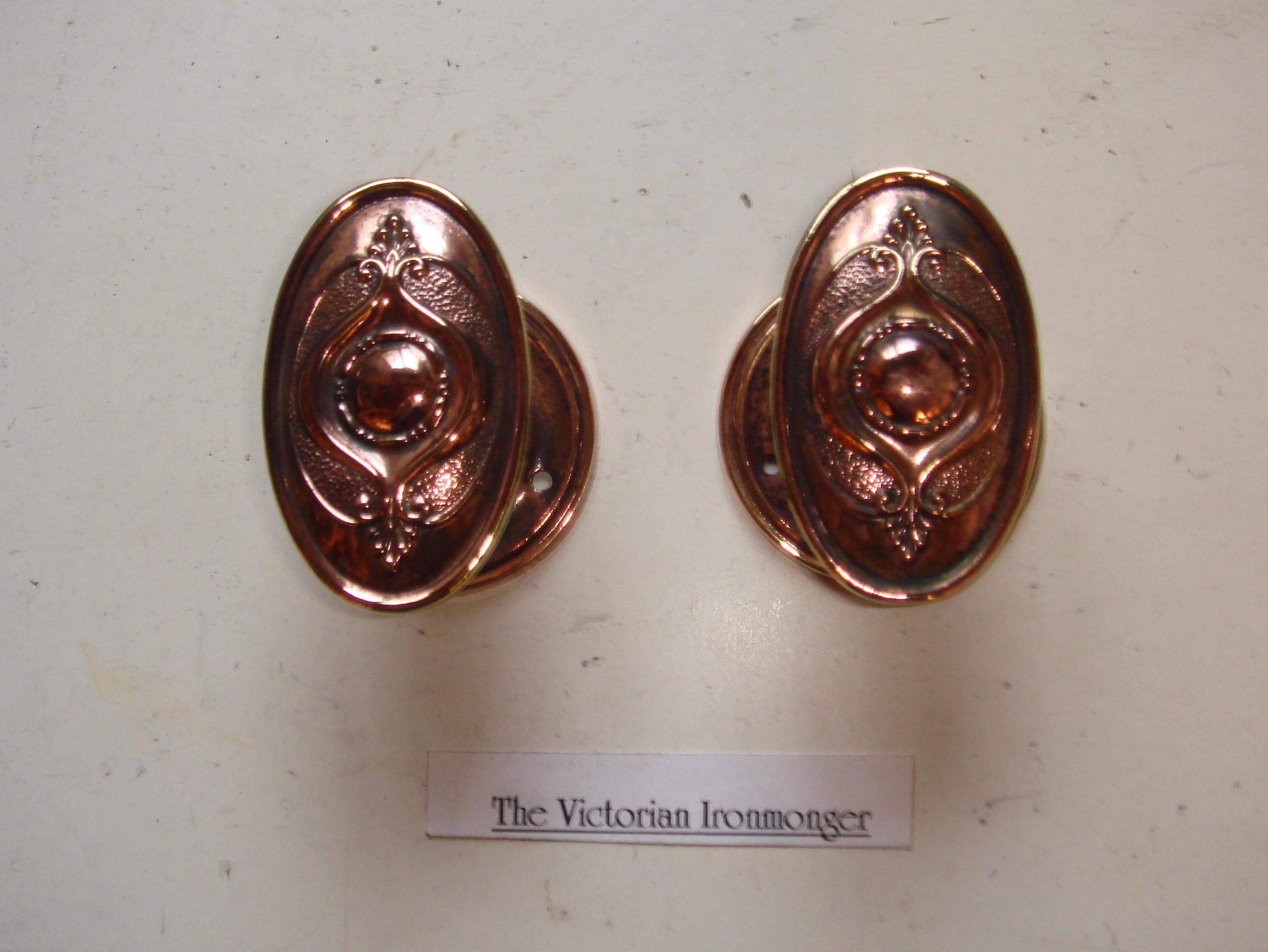 Original Pair of Oval Art Nouveau Brass & Copper Plated Door Knobs