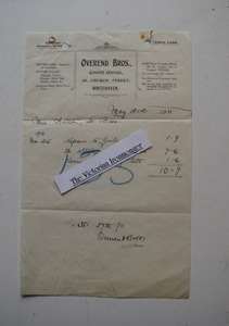 Edwardian Garage Invoice for Cycle Repairs Dated 1911. Overend Bro's, Whitehaven