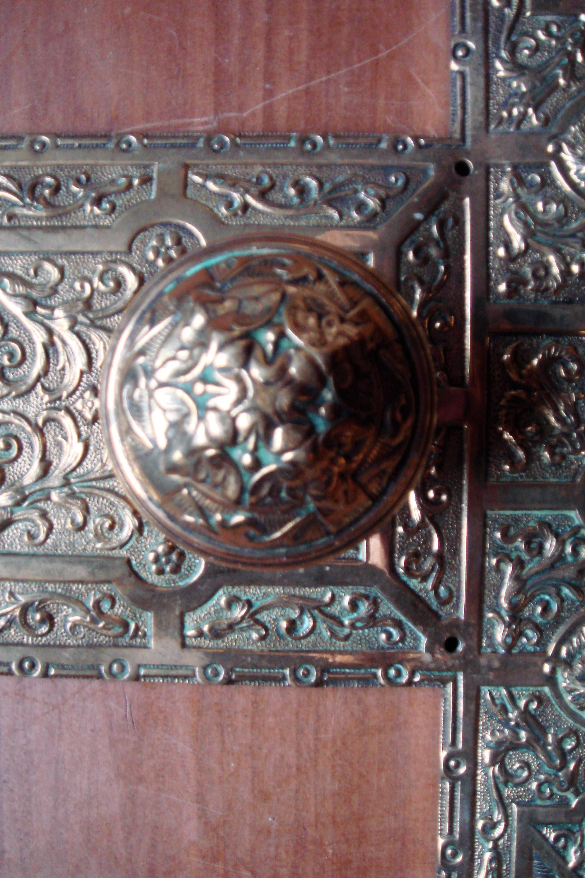 Genuine Edwardian Door Plate & Knob of 1911 with Lion Mask Detail