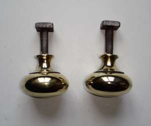 Pair of Victorian Fixed Brass Knobs with Square Threaded Spindle & Nut.