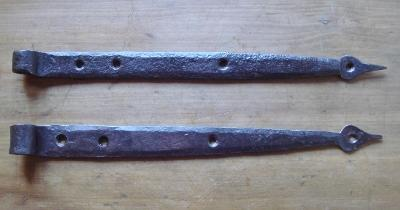 "18th Century Iron Spear Point 15"" Strap Hinges"