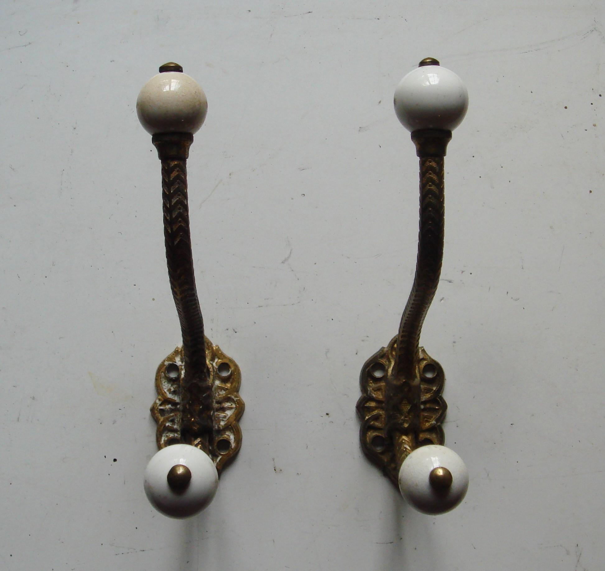 Pair Original Victorian Decorative Brass & Ceramic Hat & Coat Hooks.
