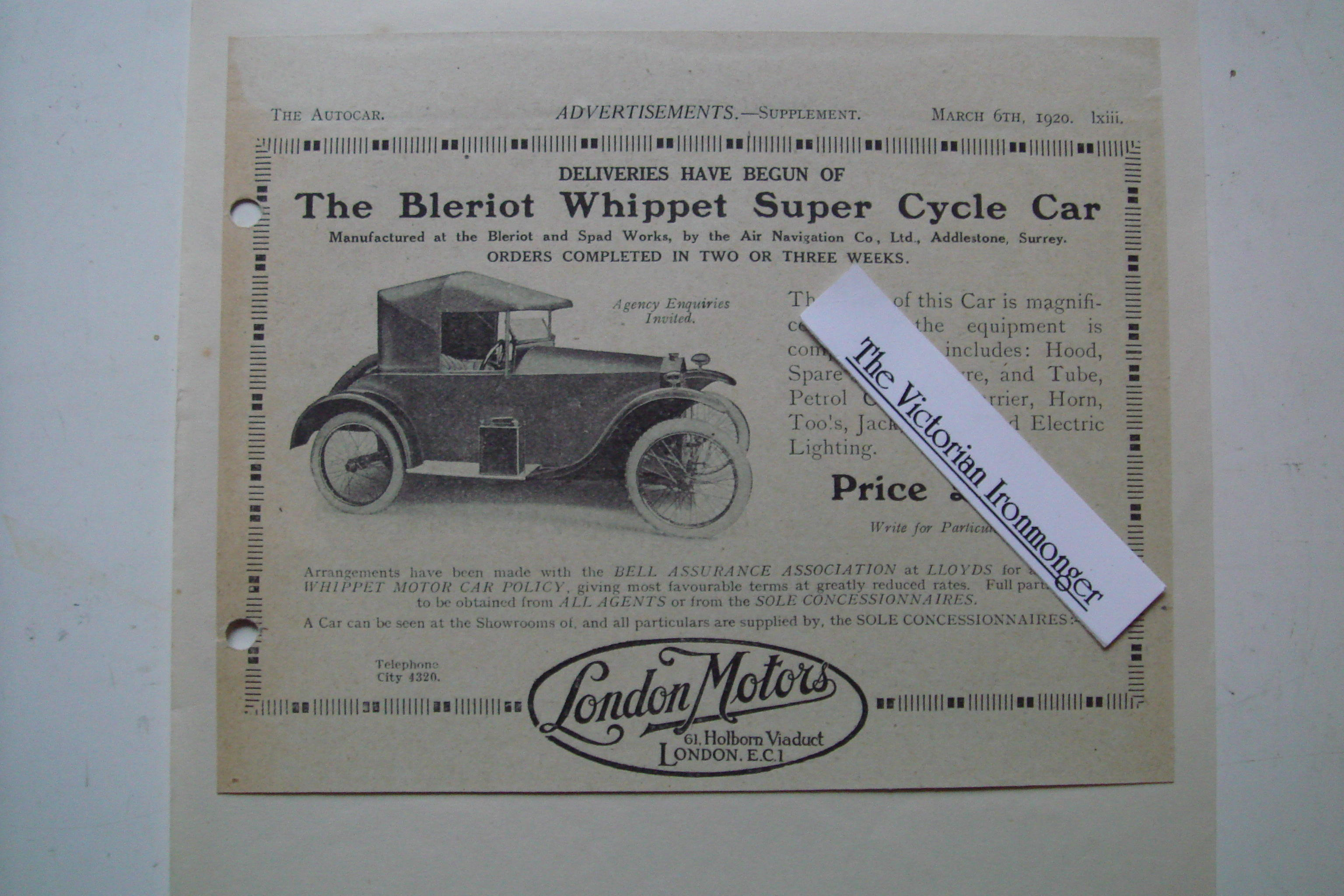 1920 Priced Advertisement for The Bleriot Whippet Super Cycle Car.