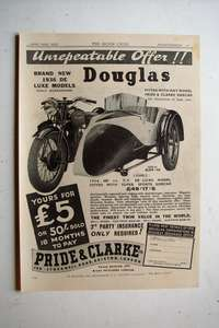 1937 Priced Advertisement for 1936 Douglas 600 cc Motorcycle Combination