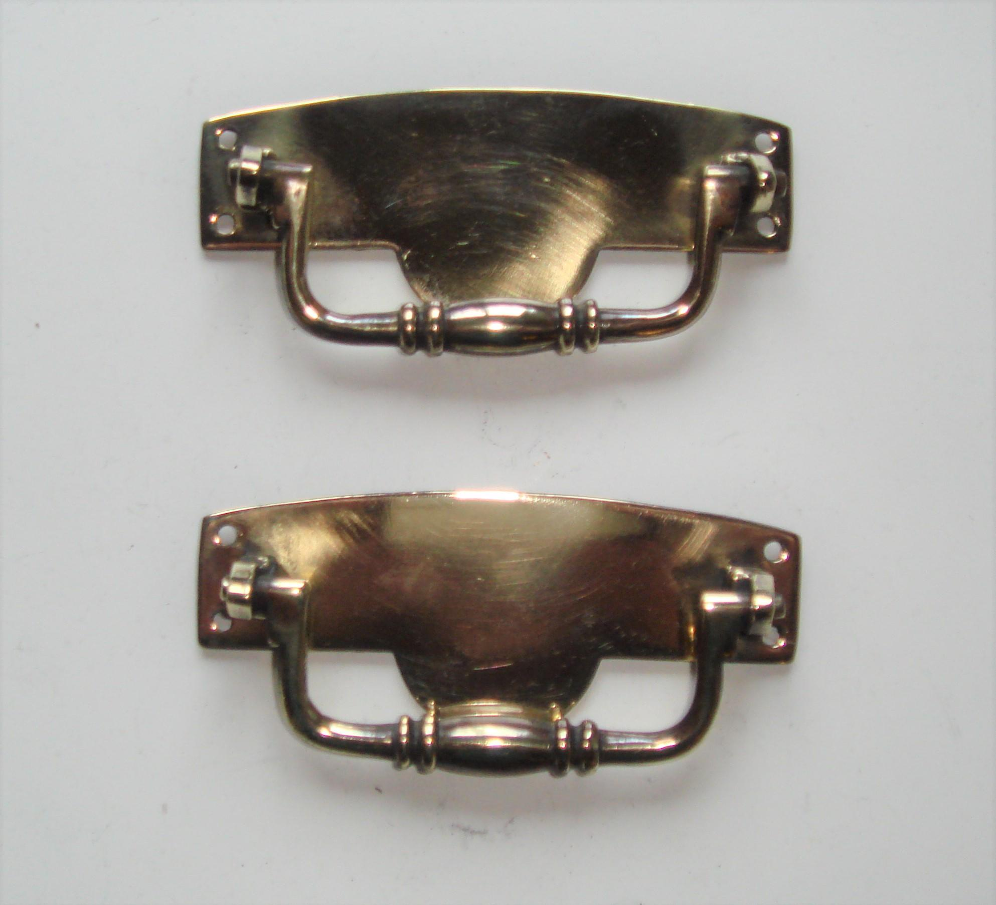 Edwardian Brass Drop Handles for Drawer or Chest