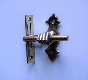 Victorian Brass Clenched Fist & Scroll Window Catch